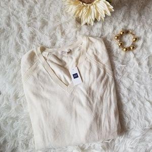 Gap Ivory Super Soft VNeck Merino Blend Sweater